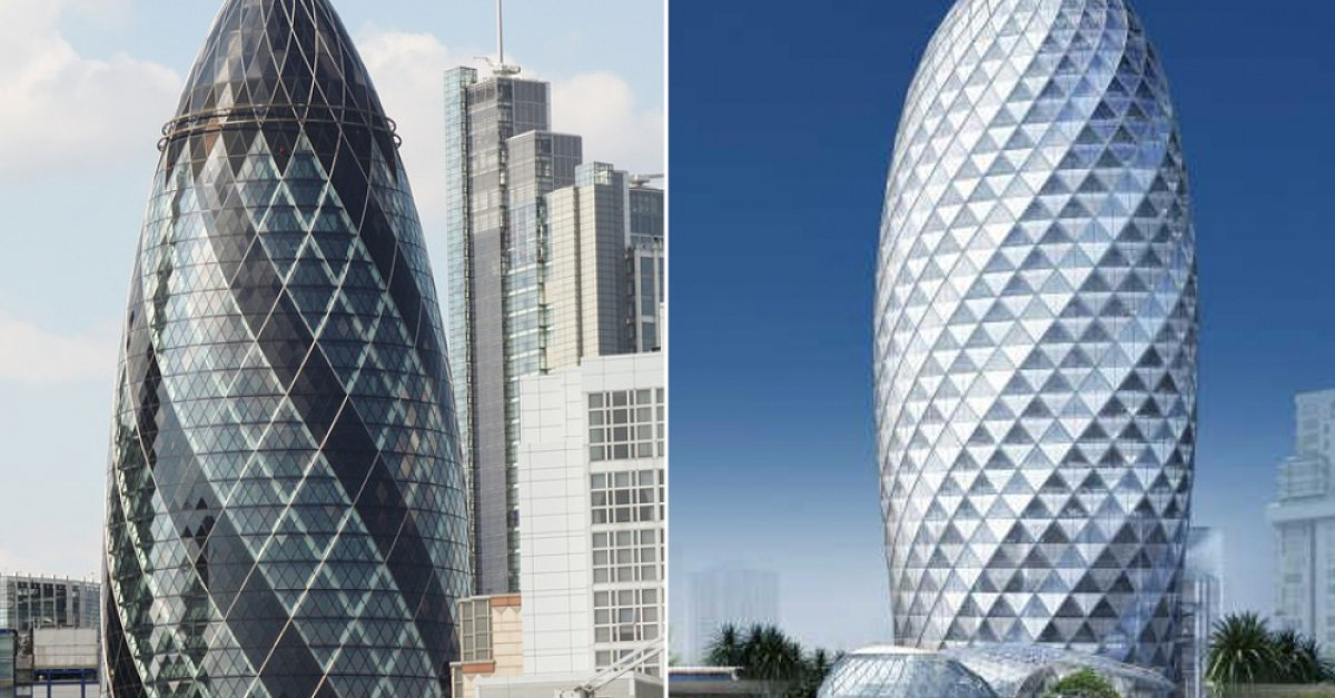 Is The Pearl Bangkok Tower A Copy These 6 Penis Buildings Around - London-gherkin-an-unusual-eggshaped-building